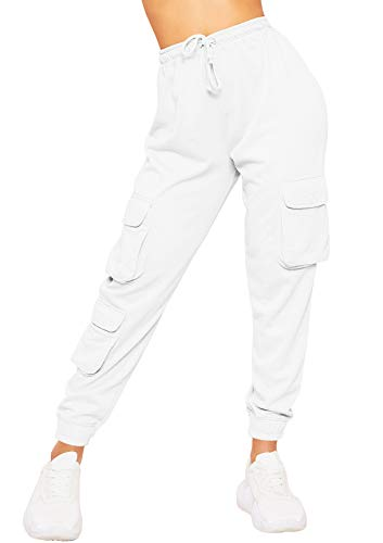 mymixtrendz Womens Ladies Cargo Trouser Casual Jogging Joggers Drwastring Cuffed Pocket Sports Gym Bottoms White