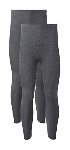 Heatwave® Pack of 2 Men's Thermal Trousers Long Johns Warm Underwear Baselayer Thermals, Medium Charcoal