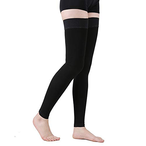 TOFLY Thigh High Compression Stockings Opaque, Firm Support 15-20 mmHg Gradient Compression with Silicone Band, Footless Compression Sleeves, Treatment Swelling, Varicose Veins, Edema, Black XXL
