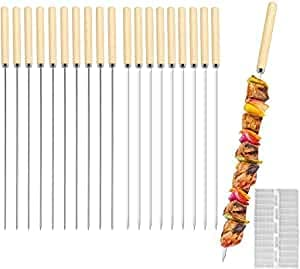 E-More Kebab Skewers, 20 Pcs Stainless Steel BBQ Skewers Reusable Metal Skewer Sticks Flat and Round Barbecue Grilling Skewers Meat Skewers with Wooden Handle, 33CM, with Quick Meat String Device