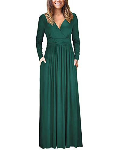 OUGES Women's Casual V Neck Long Sleeve Wrap Ladies Maxi Long Dress with Pockets(Green,XL)