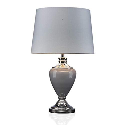 Hepburn Large Ceramic Table Lamp with Matching Shade - Modern Grey & Silver