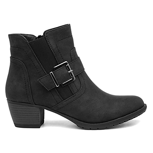 Lilley Womens Black Zip Up Heeled Ankle Boot - Size 5 UK - Black
