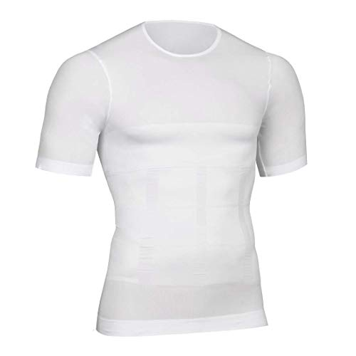 Peony.T Men's Body Shapewear Belly Compression Slimming Top Wear Muscle Tank Wasit Tummy Control Trainer Undershirts, White, XL