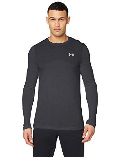 Under Armour Seamless Longsleeve, Comfortable long-sleeved top, quick-drying running apparel with seamless construction and anti-odour technology Men, Black (Black / Mod Gray), M