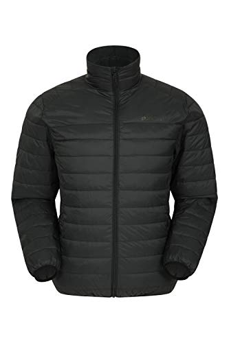 Mountain Warehouse Featherweight Mens Down Jacket - Lightweight Winter Coat, Easy Care, Packaway Bag, Water Resistant Rain Jacket – for Camping, Travelling & Walking Black L