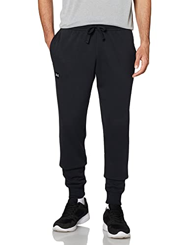 Under Armour Rival Fleece Joggers, Comfortable and warm tight tracksuit bottoms for men, men's jogger bottoms with loose fit Men, Black (Black / Onyx White), L