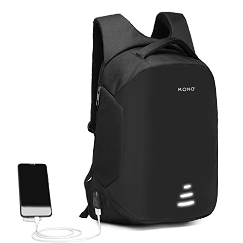Kono Anti-Theft Laptop Backpack,Business Work Travel Computer Rucksack with USB Charging Port, Waterproof Casual Daypack College High School Bags, Gifts for Men Women, Fits 15.6 Inch Laptop