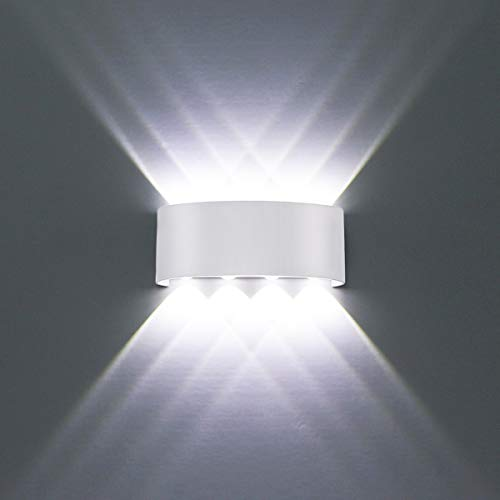 HYDONG LED Wall Lights White Aluminium Waterproof Modern Wall Lamp 8W Up Down Spot Light Cold White 6000K Wall Wash Light for Living Room, Bedroom, Hallway, Bathroom