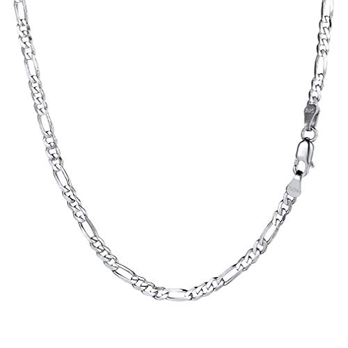 PROSTEEL 925 Sterling Silver Figaro Chain Necklace for Men 18 Inch