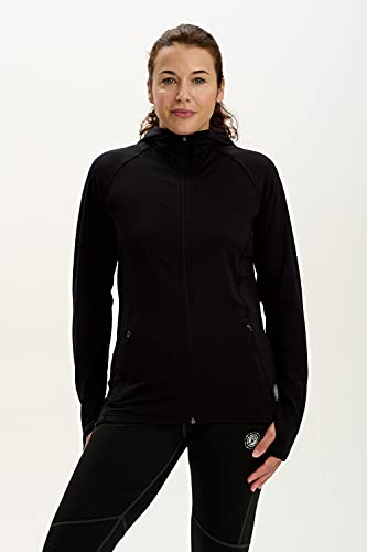 Time To Run Women's Thermo Hoodie Running/Gym/Sports Jacket With Pockets & Thumbloops Size 12 Black