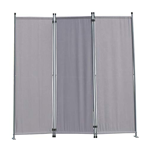 Angel Living Paravent Protective Screens Room Divider Screen Panel Folding Room Partition Wall Furniture Outdoor Screens for Patio Privacy 3-piece 169x165cm (Grey)