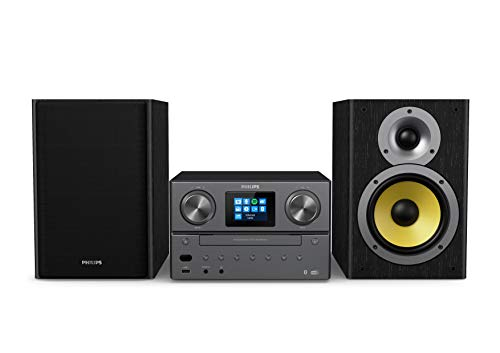 Philips Audio M8905/10 Micro Music System with Bluetooth and DAB+/FM Internet Radio (USB, Spotify Connect, CD, MP3-CD, 100 W, Bass-Reflex Loudspeakers, Digital Sound Control) – 2020/2021 Model