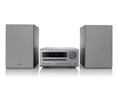 Denon DT-1 Mini HiFi System with CD Player, Sound System for TV, Bluetooth, FM/AM Tuner, 1x Optical Input, Music Streaming, 3.5mm Headphone Jack, Sleep Timer & Alarm Function - Grey