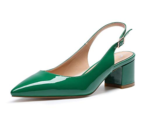Castamere Women's Slingback Mid Block Chunky Heels Pumps Slip on Pointed Toe Court Shoes 2 in Heeled Patent Green Pumps EU 42