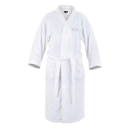 Lay-Z-Spa Luxury Spa Robe Dressing Gown for Women and Men Highly Absorbent, 100 Percent Cotton 380 GSM, Large/X-Large