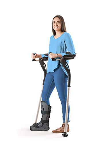 """Forearm Crutches, 1 Pair Hands-Free Crutch Cane with Ergonomic Design - Two Walking Support Crutches, Adult Fit (4'11""""- 6'8"""") Adjustable Crutches, Mobility Support Injury/Disability/Elderly (Black)"""