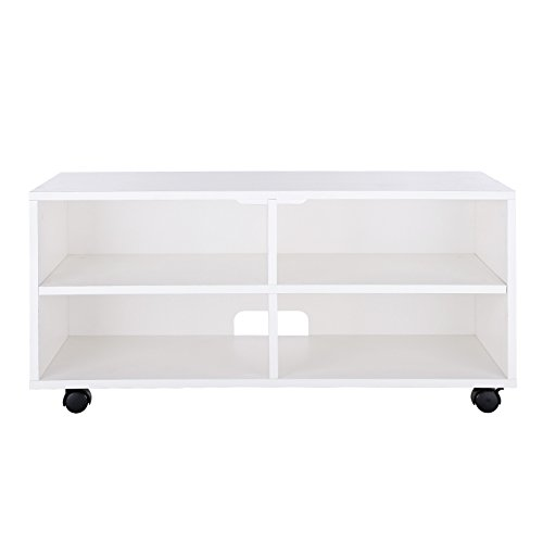 VASAGLE TV Cabinet, TV Stand with 4 Compartments and Castors, Open Lowboard for TV, Receiver, DVD Player, Hard Disk, White LTC02WT