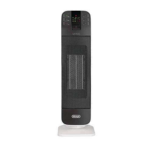 De'Longhi Bend Line, Remote controlled Ceramic Fan Heater 2kw, Digital Control Panel, Anti Frost Frunction,Oscillating base, Auto-Off, 24hr timer, For Rooms up to 60m3, HFX65V20, Black and White