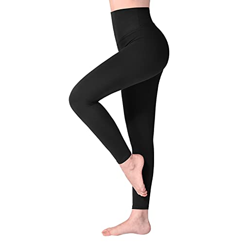 SINOPHANT High Waisted Leggings for Women, Buttery Soft Elastic Opaque Tummy Control Leggings, Plus Size Workout Gym Yoga Stretchy Pants (Black1,One Size) S-L