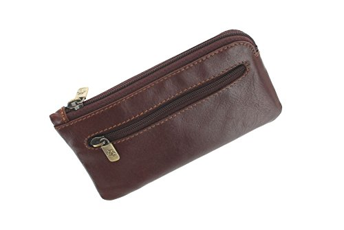 Visconti Monza Collection Geno Leather Coin Purse with Keyring MZ19 Brown