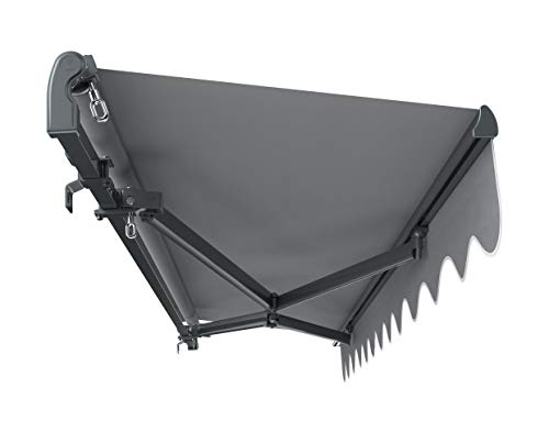 Primrose 2.5m x 2m Standard Manual Charcoal Cassette Patio Awning Complete with Fixings and Winder Handle (Silver)