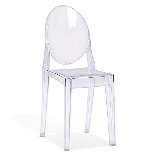 Beautify Clear Ghost Chair – Transparent Plastic Chair – Accent Chair Desk Chair Dressing Table Vanity Seat – Modern Chair for Bedroom, Living Room, Dining Room, Desk