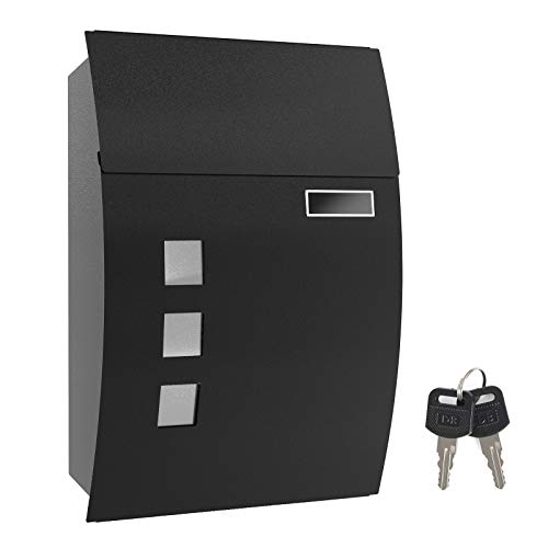 SONGMICS Mailbox, Wall-Mounted Lockable Post Letter Box with Viewing Windows, Nameplate, and Keys, Easy to Install, Black GMB30BK