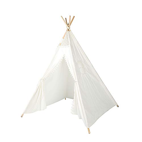 Triclicks Kids Teepee Play Tent Indian Children Wigwam Tipi Play House - 100% Cotton Canvas Portable Princess Girls Tent for Indoor and Outdoor (White Style B)