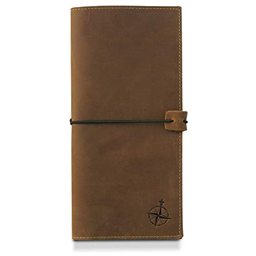 Tall Leather Passport Holder and Travel Wallet - RFID Blocking Long Genuine Leather Travel Organizer for Men and Women, Big Passport Wallet for Travel - 11 x 23cm