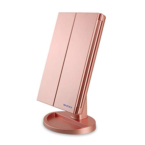 WEILY Lighted Vanity Makeup Mirror 1x/2x/3x Magnification Trifold with 36 LED Lights Touch Screen and USB charging, 180 Degree Adjustable Stand for Countertop Cosmetic Makeup Mirror(Rose Gold)