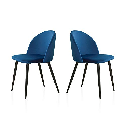 TUKAILAI 2PCS Velvet Dining Chair Lounge Chair Soft Velvet Seat and Back with Metal Legs Dining Living Room Chairs KitchenChairs Set of 2 Navy Blue