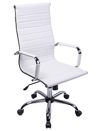 Exofcer High Curved Back PU leather Home Office Chair Executive Computer Height Adjustable Swivel Desk Chair (White)