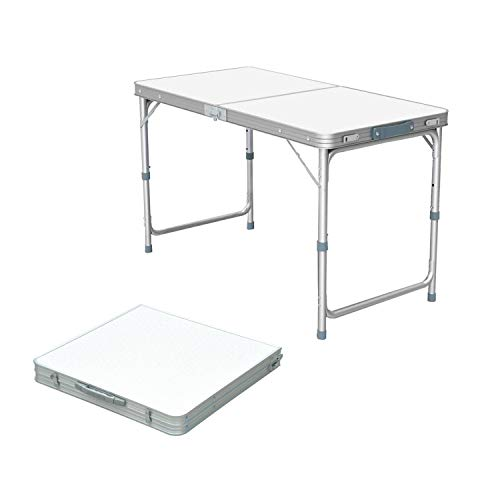 Folding Camping Table with Adjustable Height, Aluminium Foldable Portable Picnic Table for Outdoor Indoor Kitchen Garden Party Compact Small BBQ Picnic Table