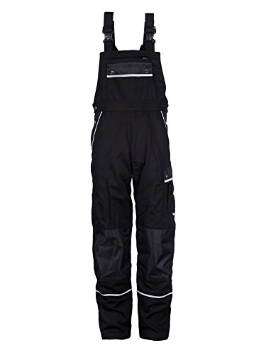 TMG® Work Bib and Brace Overall for Men, Work Dungarees with Knee Pad Pockets Black W30 L31