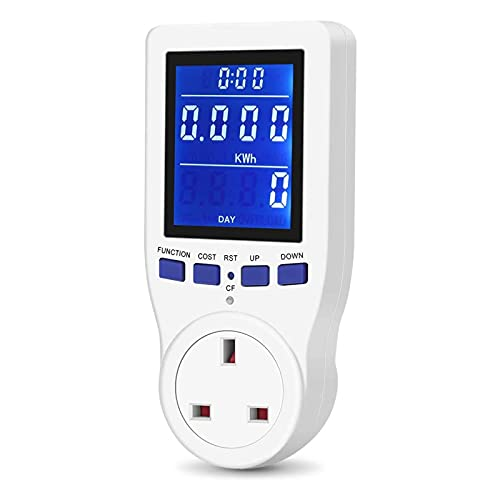 Power Meter Energy Monitor Electricity Usage Volt Amps Consumption Home Electrical Analyzer HD LCD Backlight Display Overload Protection Calculate CO₂Emissions