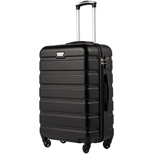 COOLIFE Suitcase Trolley Carry On Hand Cabin Luggage Hard Shell Travel Bag Lightweight 2 Year Warranty Durable 4 Spinner Wheels(Black, L(77cm 93L))