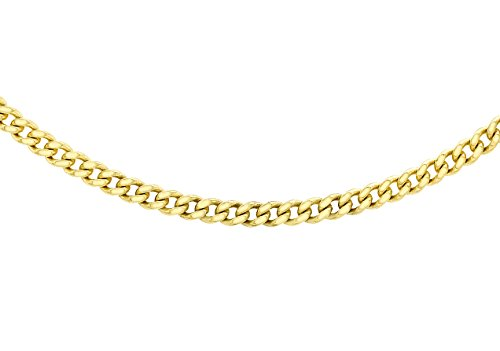 Carissima Gold Women's 9 ct Yellow Gold 0.8 mm Diamond Cut Curb Chain Necklace of Length 46 cm/18 Inch