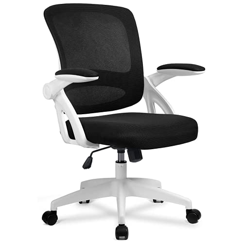 COMHOMA Desk Chair Office Chair 90° Flip-up Armrest Ergonomic Computer Chair Lumbar Support Height Adjustable 360° Swivel Rocking Function Mesh Back Seat For Home Office - White