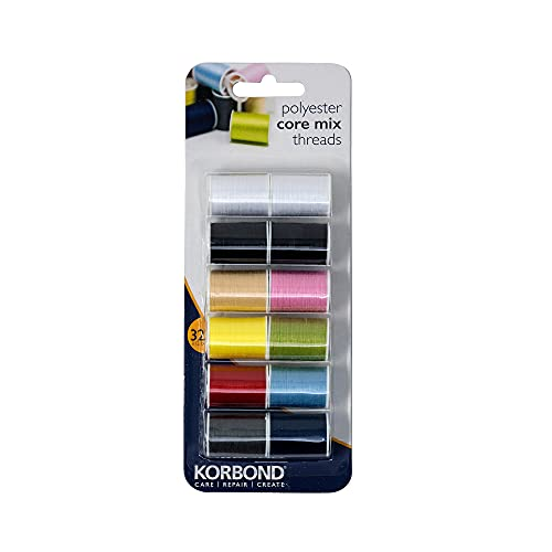 Korbond CORE Mix Polyester Thread Selection by Korbond-12 x 32m spools – 10 Colours – 384 metres – Hand and Machine Sewing, Repairs, Crafting