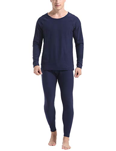 Amorbella Ultra Soft Thermal Underwear Long Johns Set with Fleece Lined Top and Bottom Thermal Underwear for Man Navy