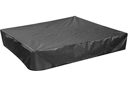 PERFETSELL Sandbox Cover Square Waterproof Sand Pit Cover Dustproof Protection 120x120cm Sandpit Pool Cover Black Sandbox Canopy with Drawstring Avoid the Sand and Toys Contamination