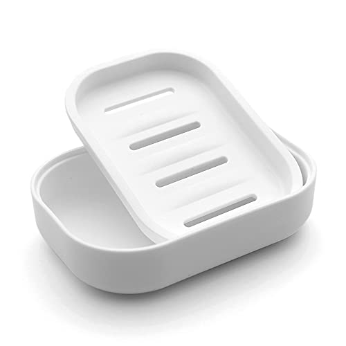 UVIVIU Plastic Soap Dish with Drainage,Soap Dishes Holder for Bathroom Shower,Keep Soap Dry and Easy Cleaning (White)