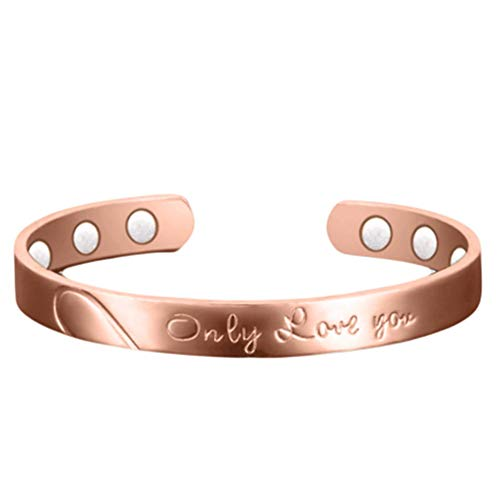 Rose Gold Copper Magnetic Bracelets For Men Women Therapy Arthritis Healing Joint Pain Relief Bangel Aid 6 Powerful Magnets Only Love You