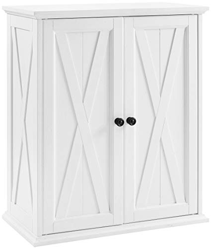 Crosley Furniture Stackable Pantry, Wood, Distressed White