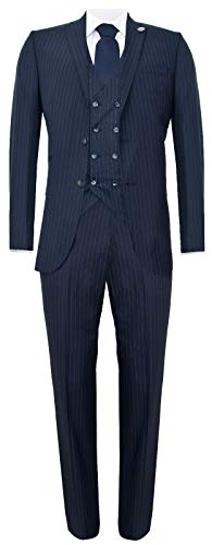 Mens 3 Piece Navy Blue Suit Gatsby 1920s Blinders Gangster Pinstripe Tailored Fit 36/30W