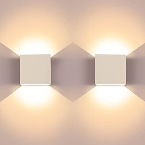 LED Wall Light, 2 Pcs Indoor Modern Wall Wash Lights, Up and Down Wall Lamp, 6W 3000K LED Wall Sconce, Suitable for Living Room, Bedroom and Hallway, Warm White