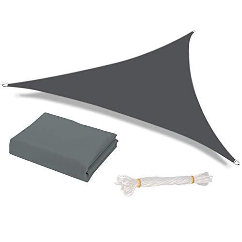 HEYOMART Sun Shade Sail Waterproof Outdoor Garden Patio Party Sunscreen Awning 2x2x2m Triangle Canopy 98% UV Block with Free Rope, Grey