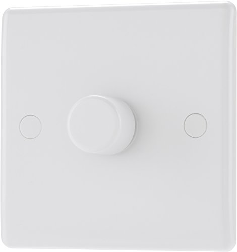 BG Electrical 881P-01 Single Round Push Button Dimmer Light Switch, White Moulded, Round Edge, 2-Way, 400 Watts