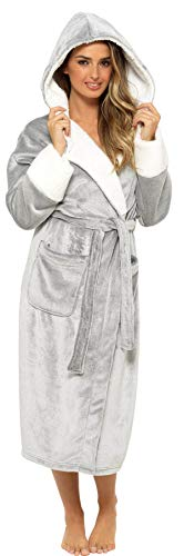 KATE MORGAN Ladies Soft & Cosy Hooded Dressing Gown (12-14, Grey Shimmer)